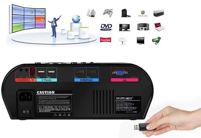 Mini Projecteur BHUE GP90 Maison Projecteur HD 1080P - Connectique